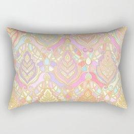 Rosy Opalescent Art Deco Pattern Rectangular Pillow