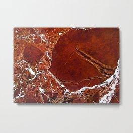 Red Marble Art Metal Print