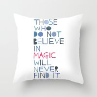 roald dahl Throw Pillows featuring Believe in magic... by Madi