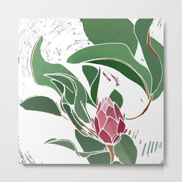 Printed Protea Flower in Pinks and Greens Metal Print
