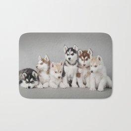 Husky dog puppies Bath Mat