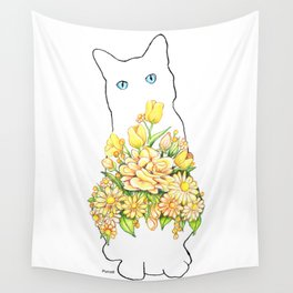 Tall White Cat Wall Tapestry