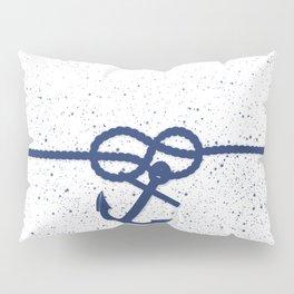 Nautical navy blue white anchor watercolor splatters Pillow Sham