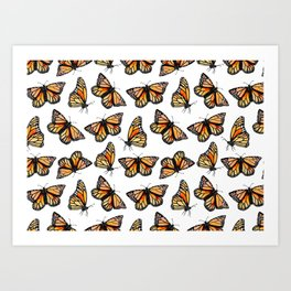 Watercolor Monarch Butterflies Art Print