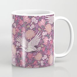 Cranes with chrysanthemums and pink magnolia on purple background Coffee Mug