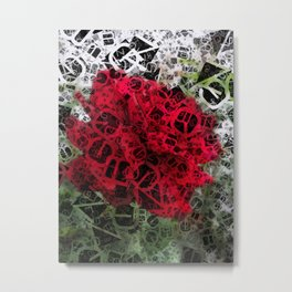 Red Rose Edges Letters 4 Metal Print