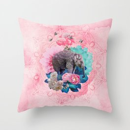 FLORAL ELEPHANT Throw Pillow