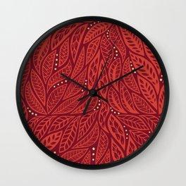 Polynesian Tribal Tattoo Red Floral Design Wall Clock