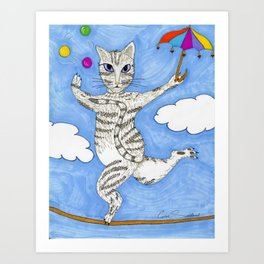 High-Wire Cat Act Art Print