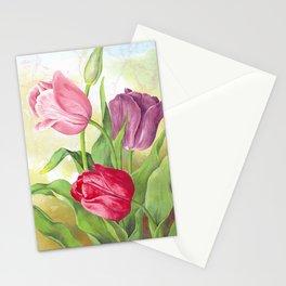 Pastel Tulip Trio - Distressed Tulip Collage Stationery Cards