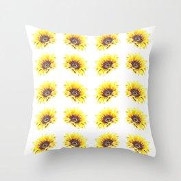 Watercolor Sunflower Petal Pattern Throw Pillow