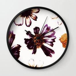 Pressed Autumn Flowers Wall Clock