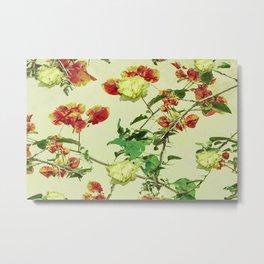 Vintage Style Floral Design Metal Print