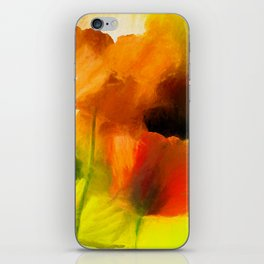 Poppies on green iPhone Skin