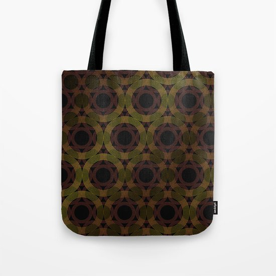 Beaded Circles Maroon and Gold Tote Bag