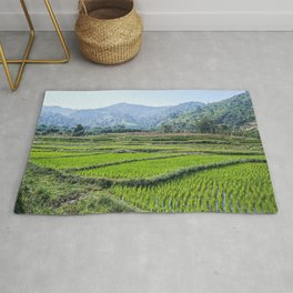 Farmland | Rice Fields Turkey European Agriculture Green Landscape Photograph Rolling Hills Mountain Rug
