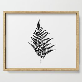 Fern silhouette. Isolated on white background Serving Tray