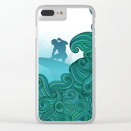 Surfer dude hangin ten and catching a wave Clear iPhone Case
