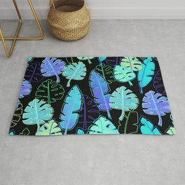 tropic leaves pattern (monstera and the bird of paradise) Rug