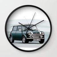 mini cooper Wall Clocks featuring Classic Mini Cooper by TCORNELIUS