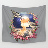bikini Wall Tapestries featuring Second Sun - colour option by Terry Fan