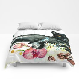 Coffee, Orchid and Black Cat Vintage Style Large Format XXL Comforters
