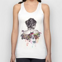 woman Tank Tops featuring Butterfly Effect by KatePowellArt