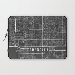 Chandler Map, Arizona USA - Charcoal Portrait Laptop Sleeve