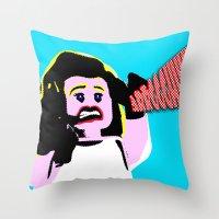 lichtenstein Throw Pillows featuring Lego Lichtenstein - Scream by Timkirman