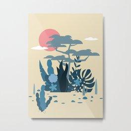 sun and cactus and trobical desert Orange boho Art sun Metal Print