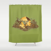 hyrule Shower Curtains featuring Keep Hyrule Green by TEEvsTEE