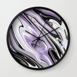 Ultra Violet Silver and Lilac Abstract Marble Vector Wall Clock