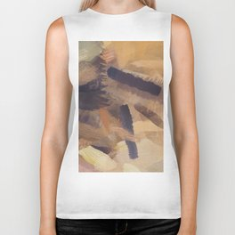 brush painting texture abstract background in black and brown Biker Tank