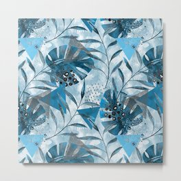 Tropical pattern.Gray, blue leaves, geometric shapes. Metal Print