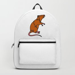 A Rat Standing on its legs Sniffing in Color Backpack