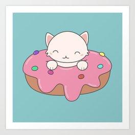 Kawaii Cute Cat Donut Art Print
