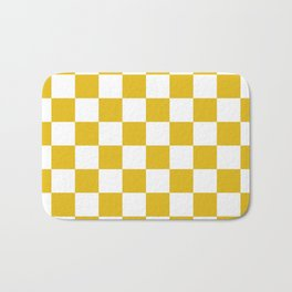 Mustard Yellow Checkers Pattern Bath Mat