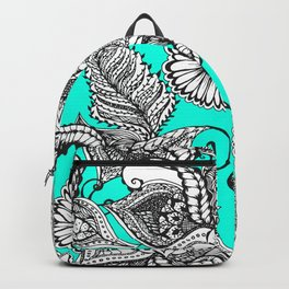 Boho black white hand drawn floral doodles pattern turquoise Backpack
