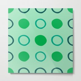Green and Blue Dots Pattern on Soft Green 1 Metal Print