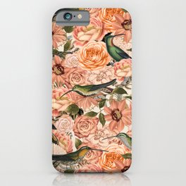 Nostalgic Flower And Hummingbird Pattern iPhone Case