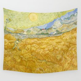 """Vincent van Gogh """"Wheat Field behind Saint Paul Hospital with a Reaper"""" Wall Tapestry"""