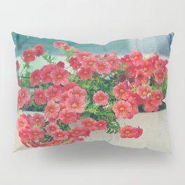 Painterly Summer Floral Coral Red Million Bells in Beachy Window Box Pillow Sham