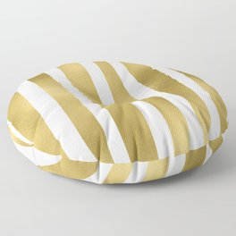 Gold unequal stripes on clear white - vertical pattern Floor Pillow