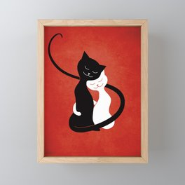 White And Black Cats In Love (red) Framed Mini Art Print