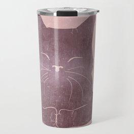 Happy purple cat illustration on pink for girls Travel Mug