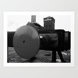 Railway buffer B&W Art Print