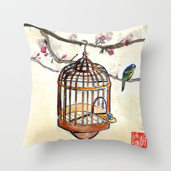 Chinese tea break Throw Pillow