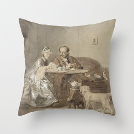 Coffee hour, David Bles, 1831 - 1899 Throw Pillow