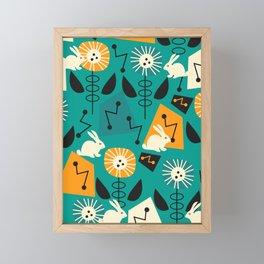 Mid-century pattern with bunnies Framed Mini Art Print
