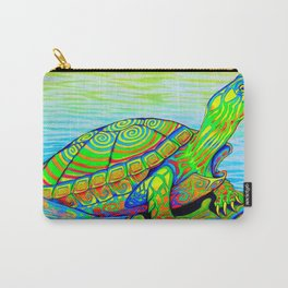 Colorful Psychedelic Neon Painted Turtle Rainbow Turtle Carry-All Pouch